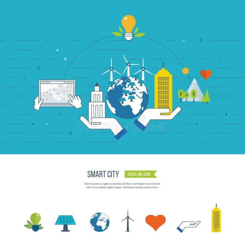 Eco verde e concetto ecologico della città Città astuta illustrazione di stock