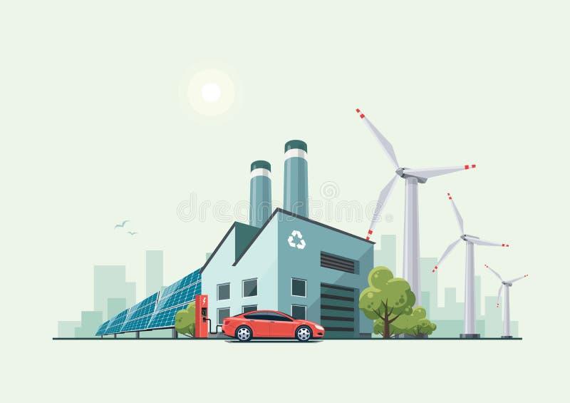 Eco verde que recicla a fábrica ilustração stock
