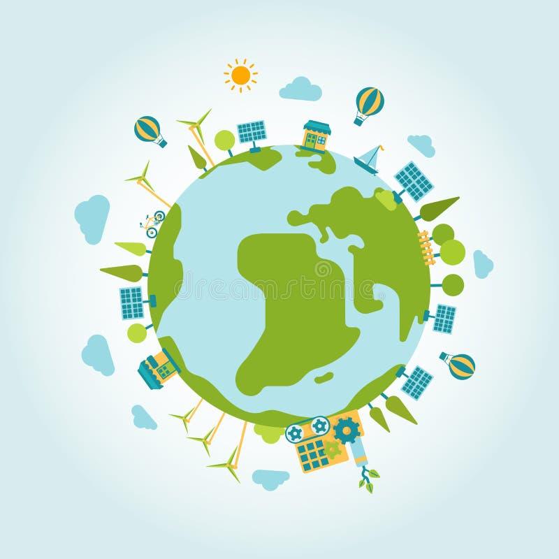 Eco verdissent le calibre plat moderne de style de globe du monde de planète d'énergie illustration de vecteur