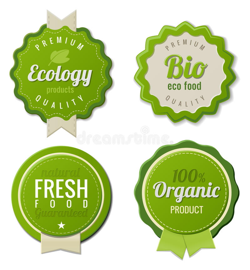 Eco Vintage Labels Bio template set stock illustration