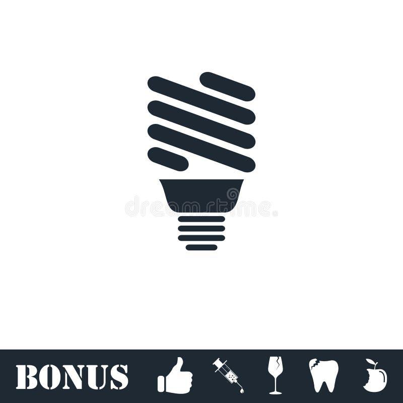 ECO-vlakke het pictogram van de energielamp stock illustratie