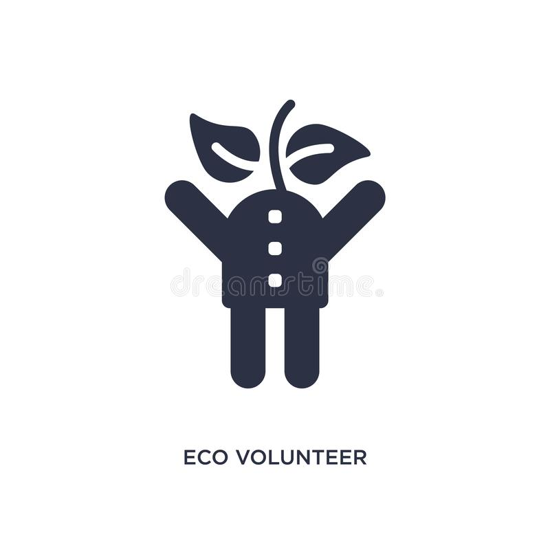 eco volunteer icon on white background. Simple element illustration from ecology concept stock illustration