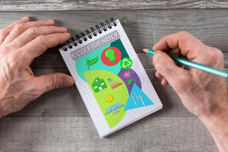 Eco vriendschappelijk concept op een blocnote vector illustratie