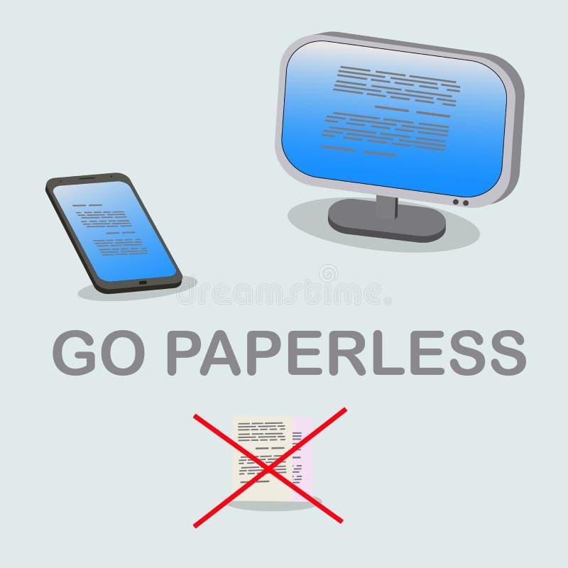 Eco vriendschappelijk idee paperless te gaan royalty-vrije illustratie