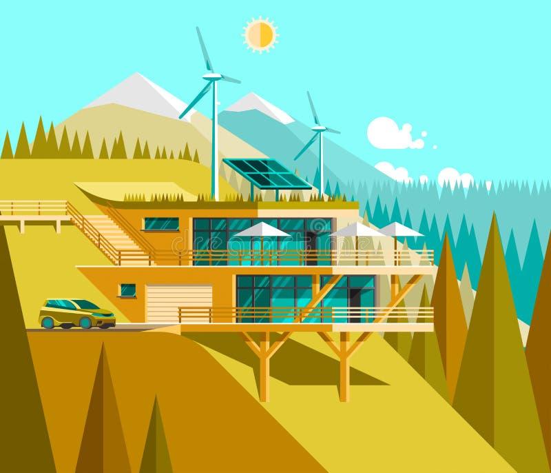 Eco vriendschappelijk modern huis Groene architectuur Zonnepaneel, windturbine, groen dak vector illustratie