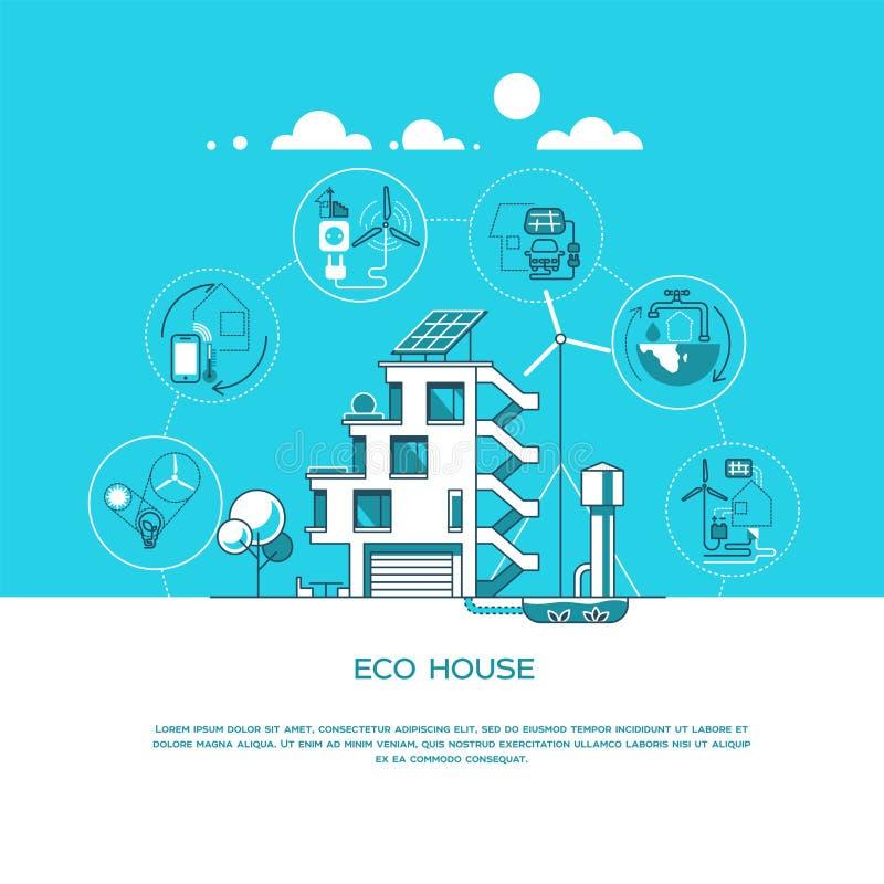 Eco vriendschappelijk modern huis Groene architectuur Zonnepaneel, windturbine, groen dak Vector illustratie royalty-vrije illustratie