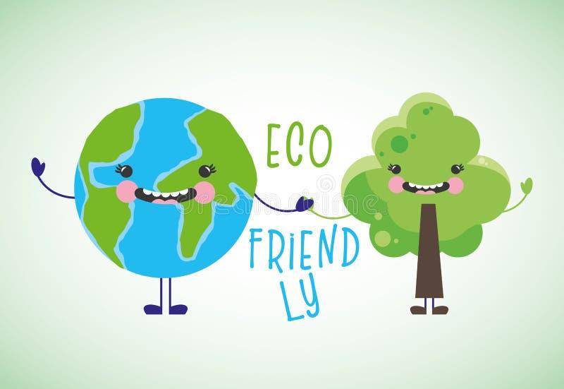 Eco vriendschappelijke beeldverhalen stock illustratie