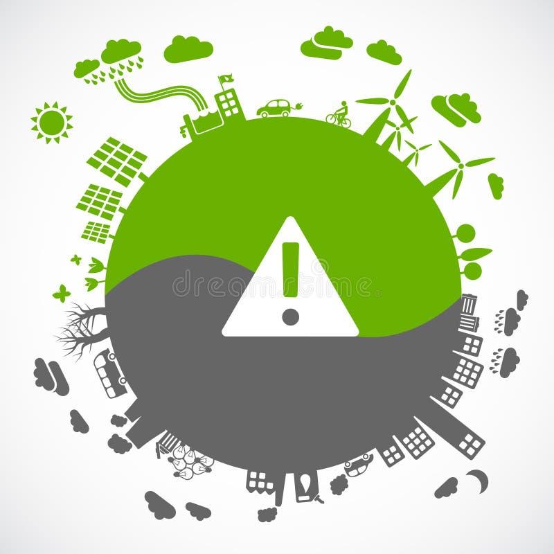 Eco vs. gray. Green versus gray - sustainable development concept vector illustration