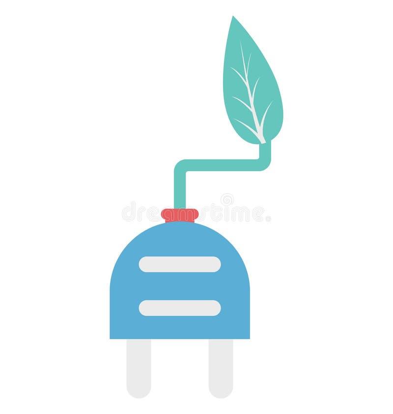 Eco władza, Eco Energetycznego koloru Odosobniona Wektorowa ikona royalty ilustracja