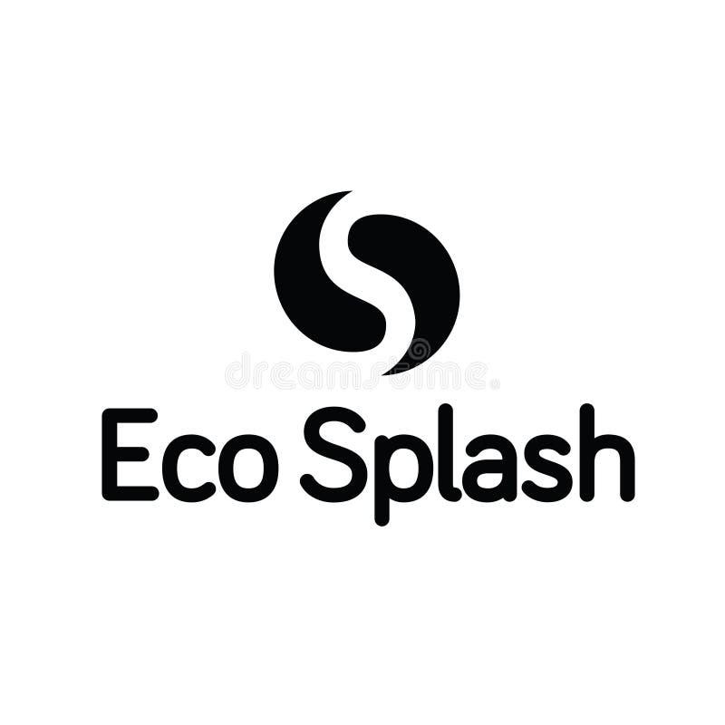 Eco-Wasser-Tropfen-Tröpfchen Ying Yang Splash Logo lizenzfreies stockfoto