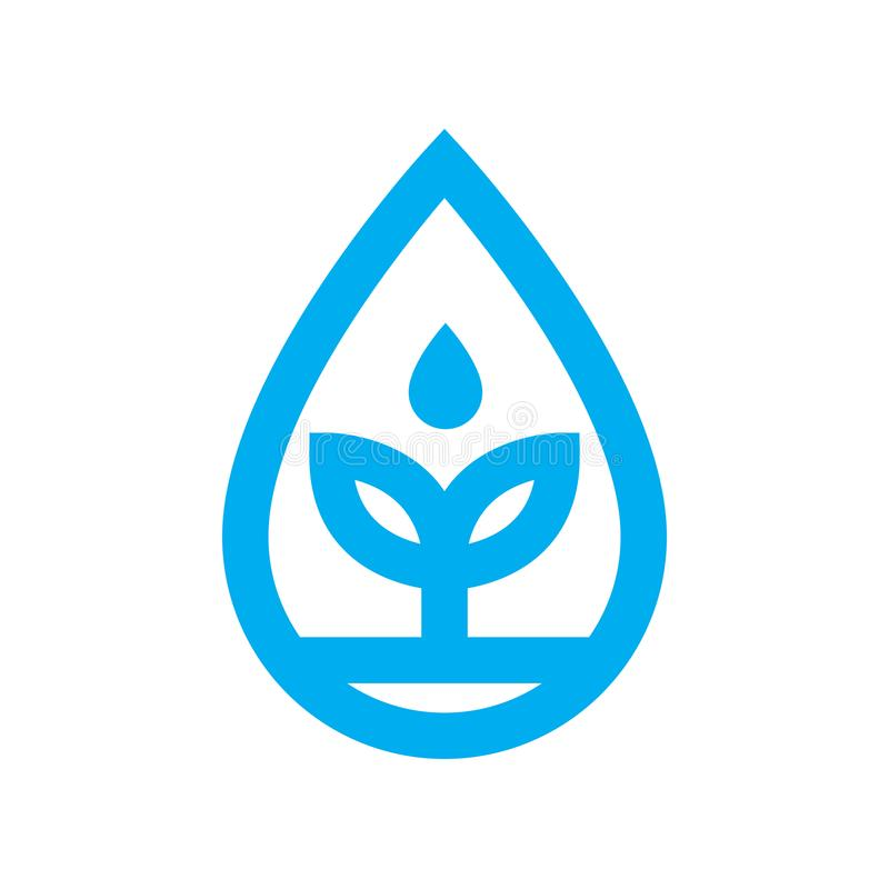Eco water icon. Blue plant grows in water drop symbol vector illustration