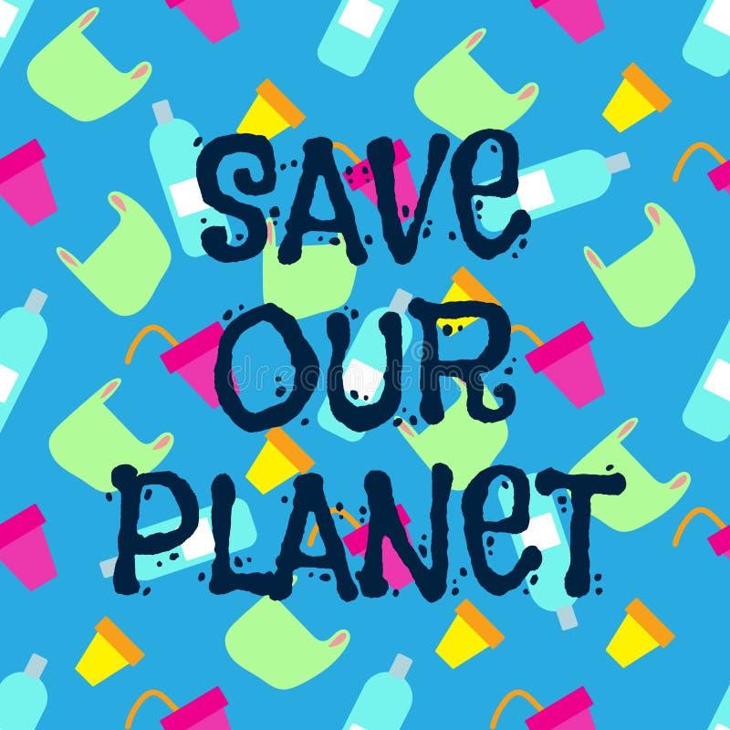 Eco, watervervuilingconcept Het Concept van het verontreinigingsprobleem Blauwe overzeese illustratie Einde oceaan plastic veront stock illustratie