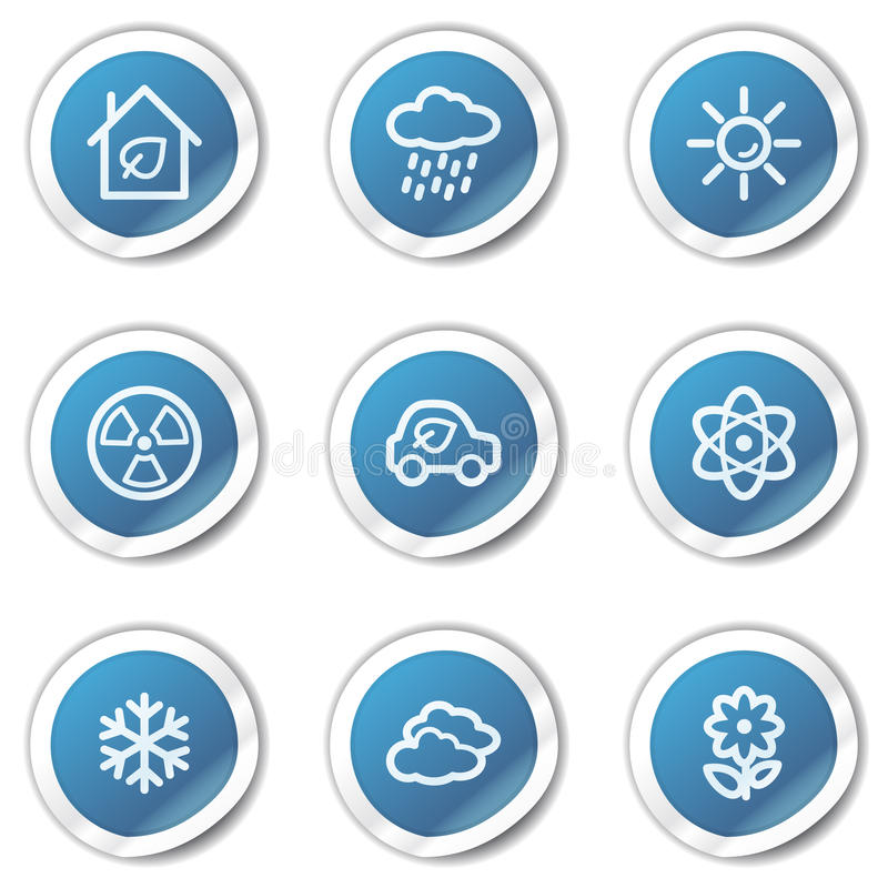 Download Eco Web Icons Set 2, Blue Sticker Series Stock Vector - Illustration of cloud, nuclear: 13008935