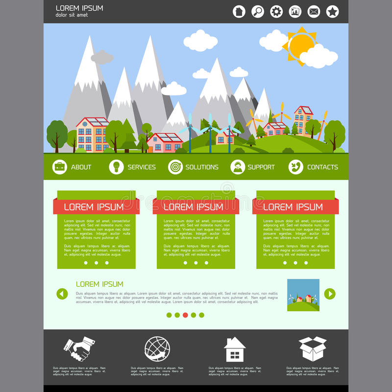 Eco-Websiteschablone stock abbildung
