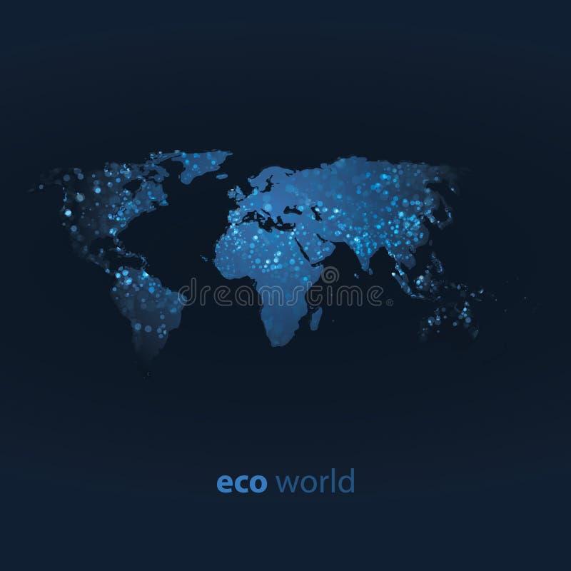 Eco Weltkarten-Auslegung vektor abbildung