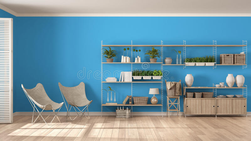 Eco white and blue interior design with wooden bookshelf, diy vertical garden storage shelving, living, lounge relax area with ar royalty free stock photo