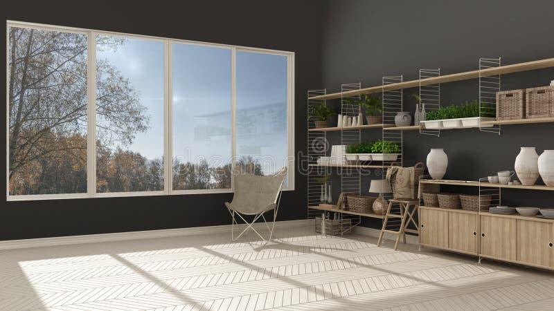 Eco white and gray interior design with wooden bookshelf, diy vertical garden storage shelving, panoramic window with autumn. Garden, mountain panorama vector illustration