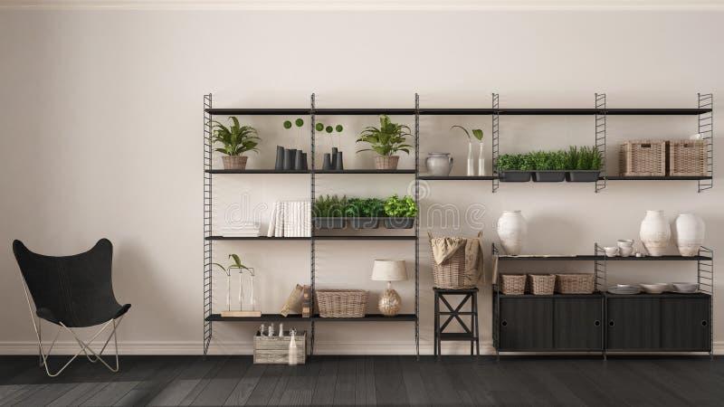 Eco wit binnenlands ontwerp met houten boekenrek, diy verticaal GA stock foto