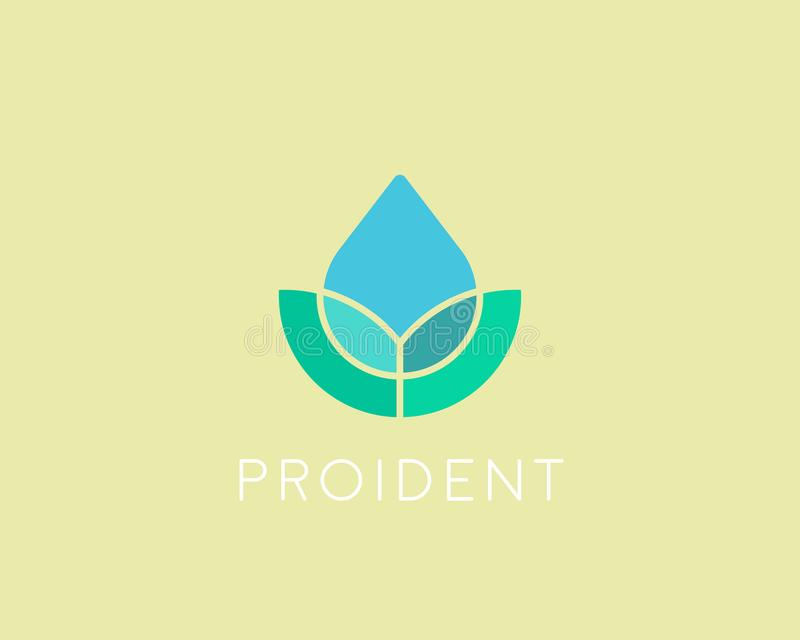 Eco wody kropli logotyp Liścia zdroju kwiatu wektoru logo royalty ilustracja