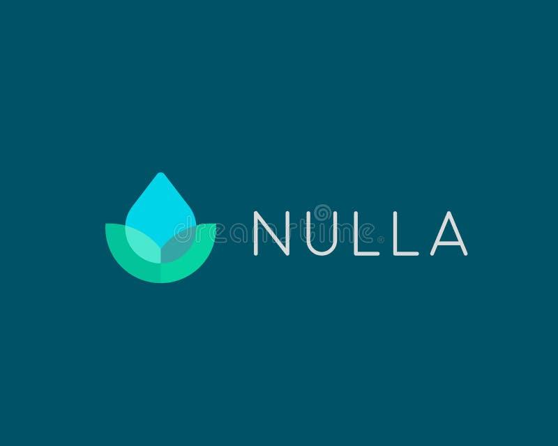 Eco wody kropli logotyp Liścia zdroju kwiatu wektoru logo ilustracja wektor