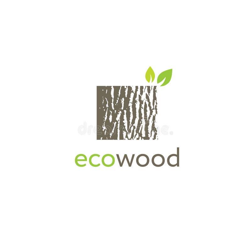 Eco Wood Creative Oak Bark Texture Sign Vector Concept stock illustration