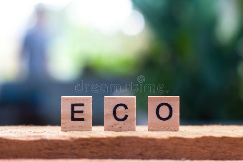Eco word of wooden cube royalty free stock photos