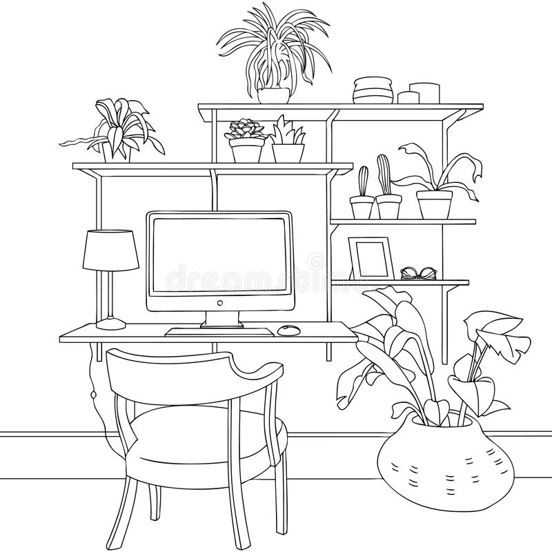 Eco Working Space Vector Line Art Illustration. For many purpose such as put on architecture and interior magazine, blog, book, website, adult coloring book vector illustration