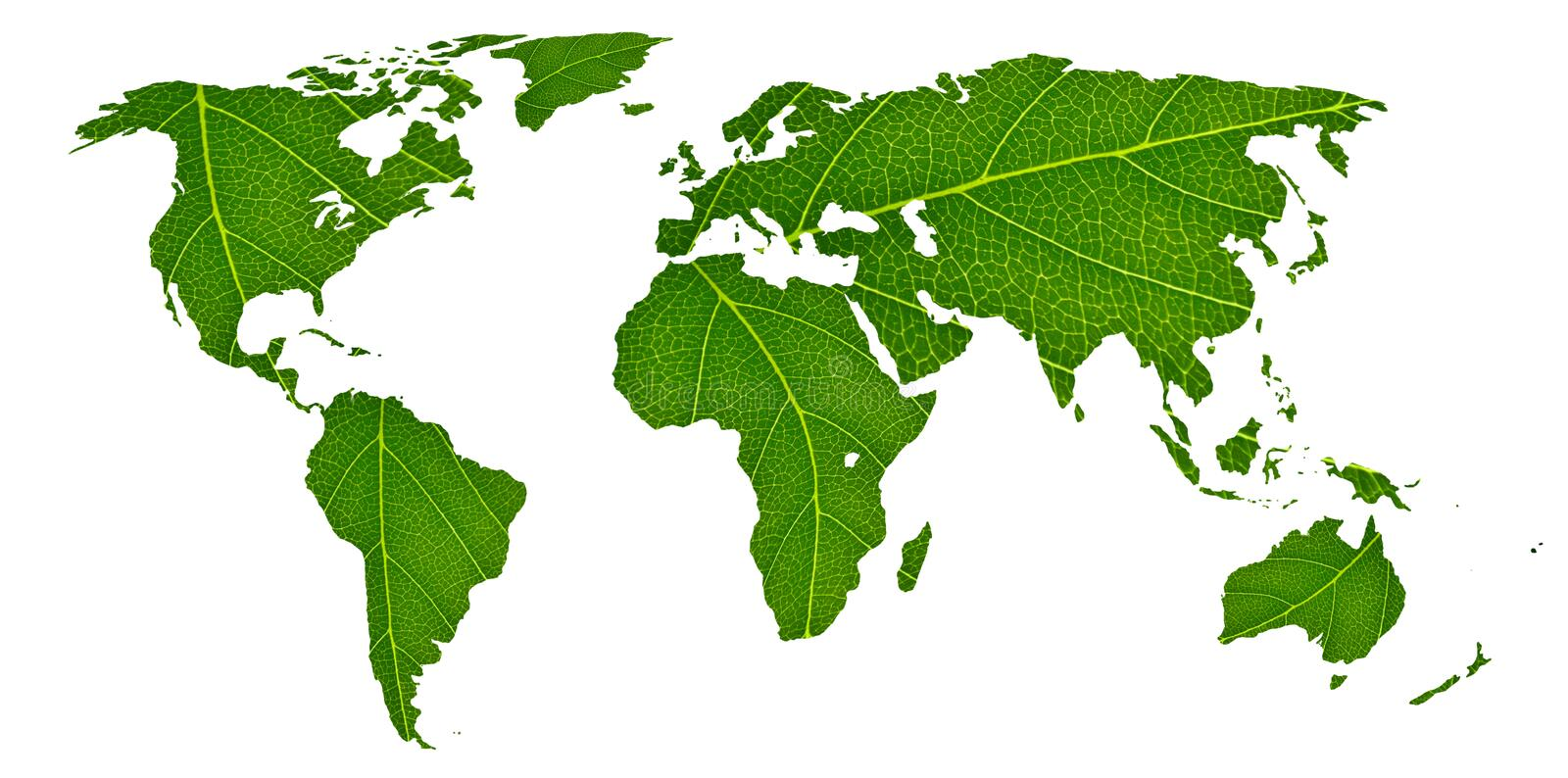 Eco world map made of green leaves, concept ecology royalty free stock images