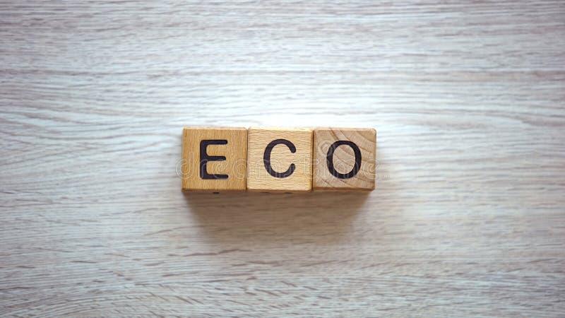 Eco-Wort gemacht von den hölzernen Würfeln, Weisen, Sorgfalt für Umweltabfallaufbereitung anzuwenden lizenzfreie stockbilder