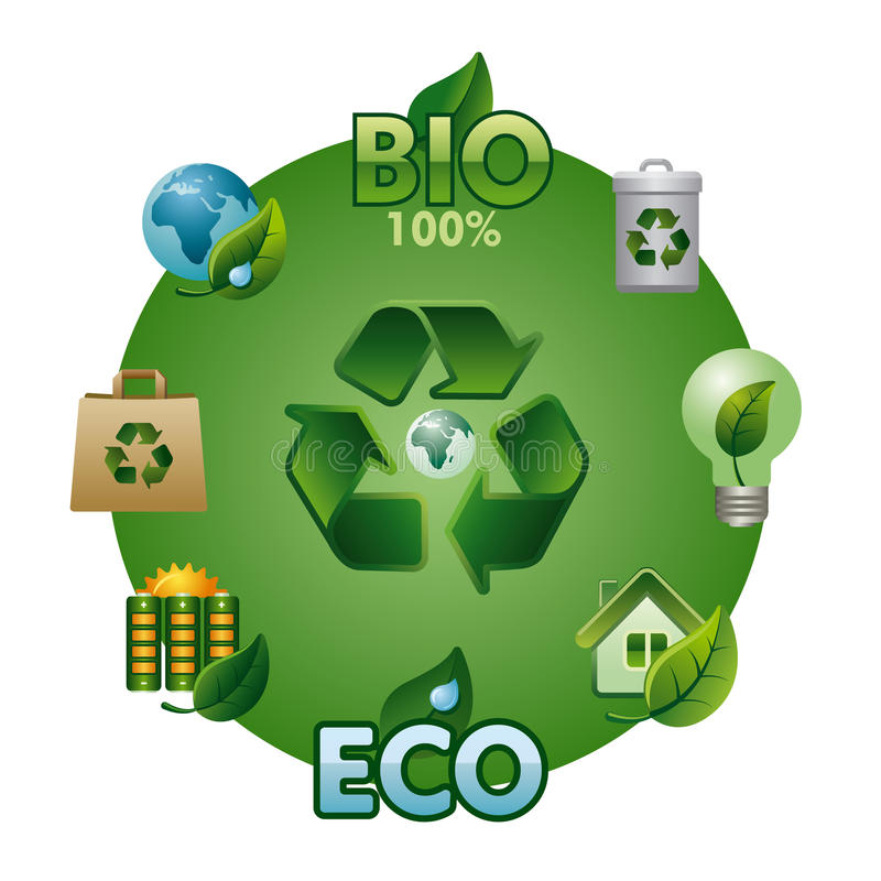 Eco y bio sistema del icono ilustración del vector