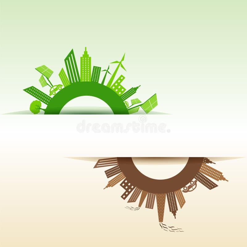 Eco y ciudad contaminada alrededor del símbolo del infinito stock de ilustración