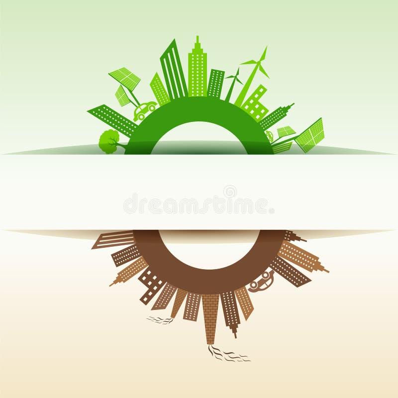 Eco y ciudad contaminada alrededor del símbolo del infinito libre illustration