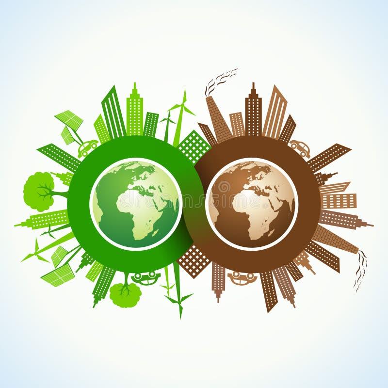 Eco y ciudad contaminada alrededor del símbolo del infinito y de e ilustración del vector
