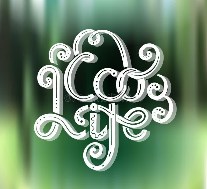 Eco ?ycie Kwadratowa karta z literowaniem z dekoracjami na zielonym natury tle uratuje planety Eco życzliwa kaligrafia ilustracji