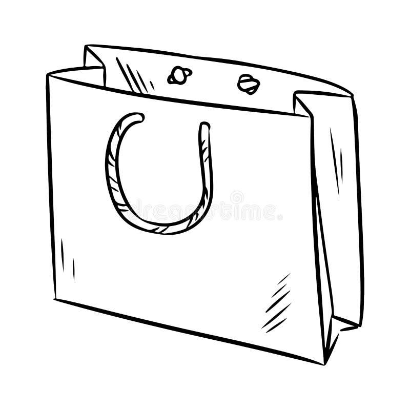 Eco ?yczliwa papierowa torba Ekologiczny i odpady produktu nakreślenia doodle E ilustracji