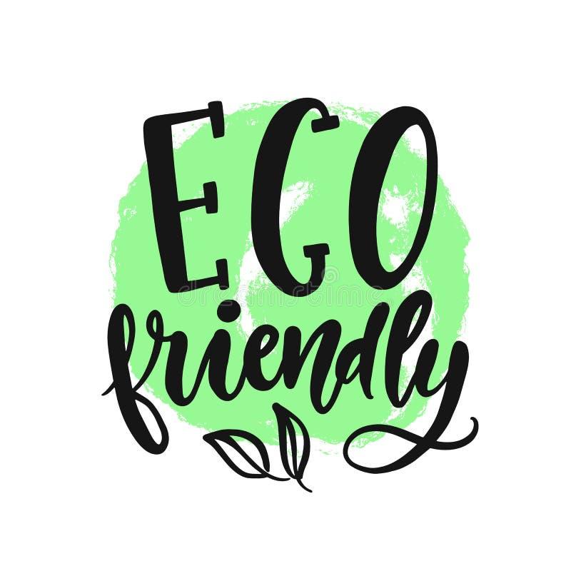 Eco ?yczliwy znak Wektorowy round weganinu zieleni logo ilustracja wektor