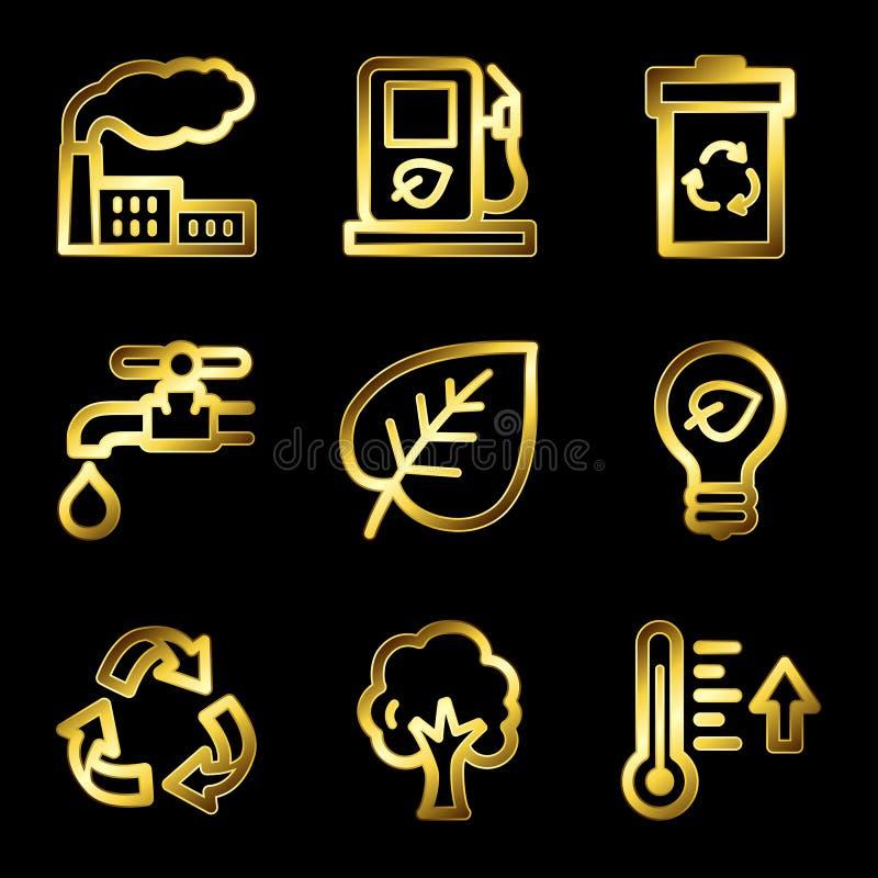 eco złocista ikon luksusu sieć ilustracji