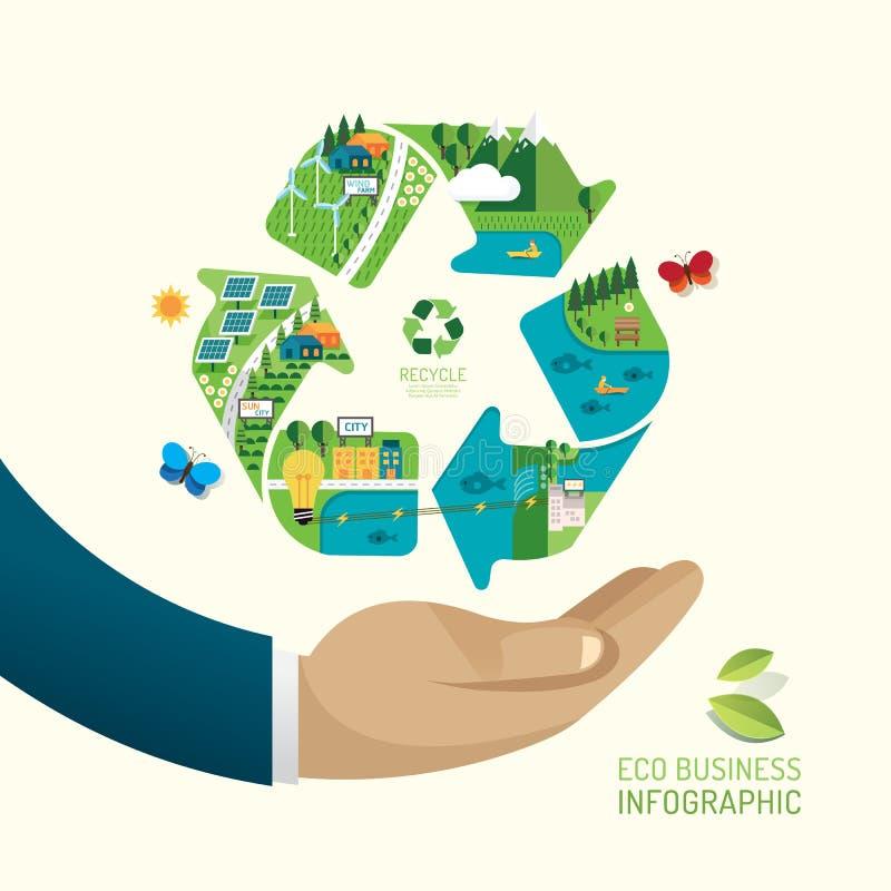 ECO-Zaken Vriendschappelijk sparen Aard Het concept van het ecologieontwerp royalty-vrije illustratie