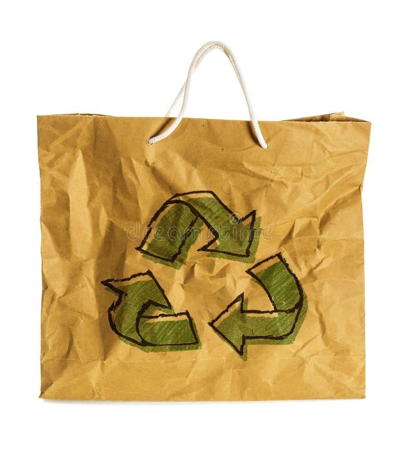 Eco-Zeichen auf Wrinkled Papiertüte lizenzfreies stockfoto