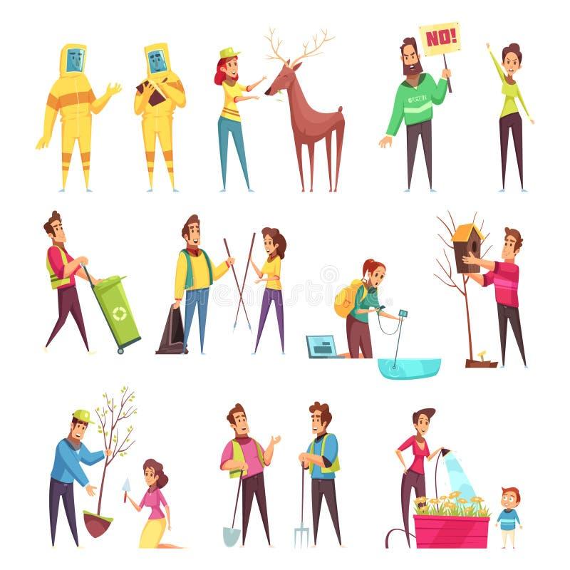 Eco Zgłaszać się na ochotnika kreskówka set ilustracji