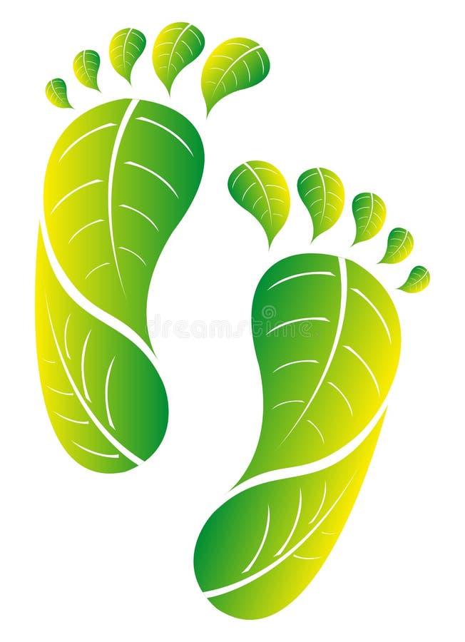 Eco zieleni odcisk stopy ilustracja wektor