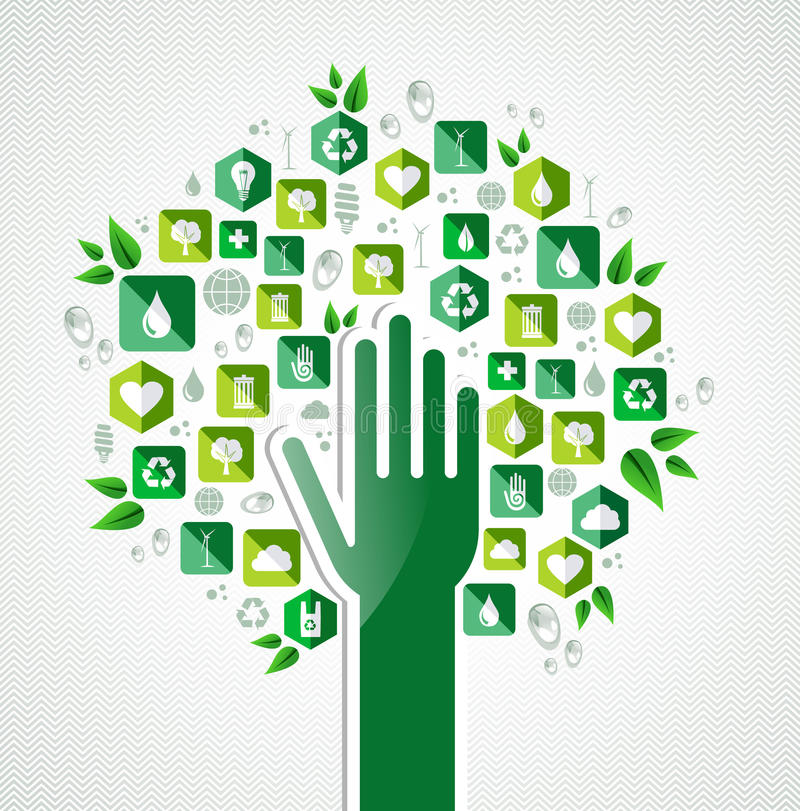 Eco zieleni ręki drzewo ilustracja wektor