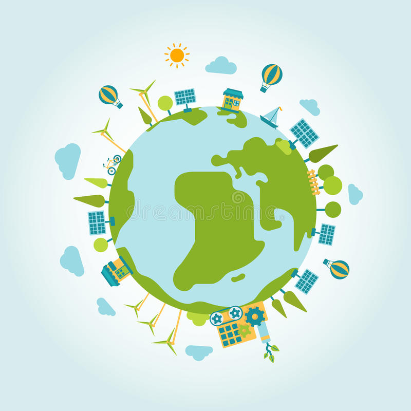 Eco zielenieje energetycznej planety światowej kuli ziemskiej mieszkania stylu nowożytnego szablon ilustracja wektor