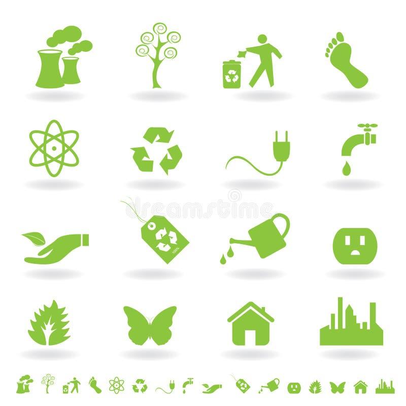 eco zielony ikony set ilustracji