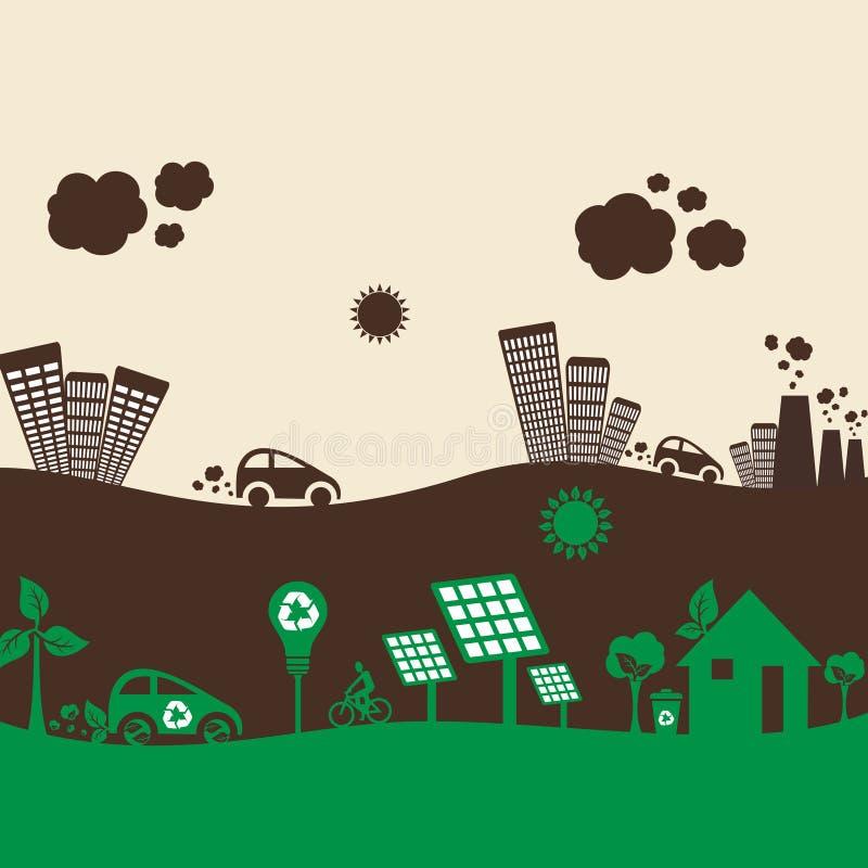 Eco zielony miasto i zanieczyszczający miasto royalty ilustracja