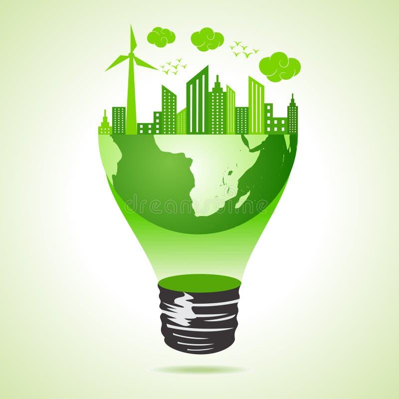 Eco ziemi pojęcie z zielonym pejzażem miejskim ilustracji