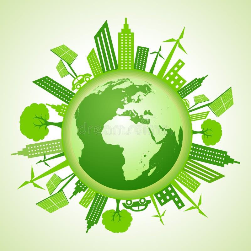 Eco ziemi pojęcie z zielonym pejzażem miejskim ilustracja wektor