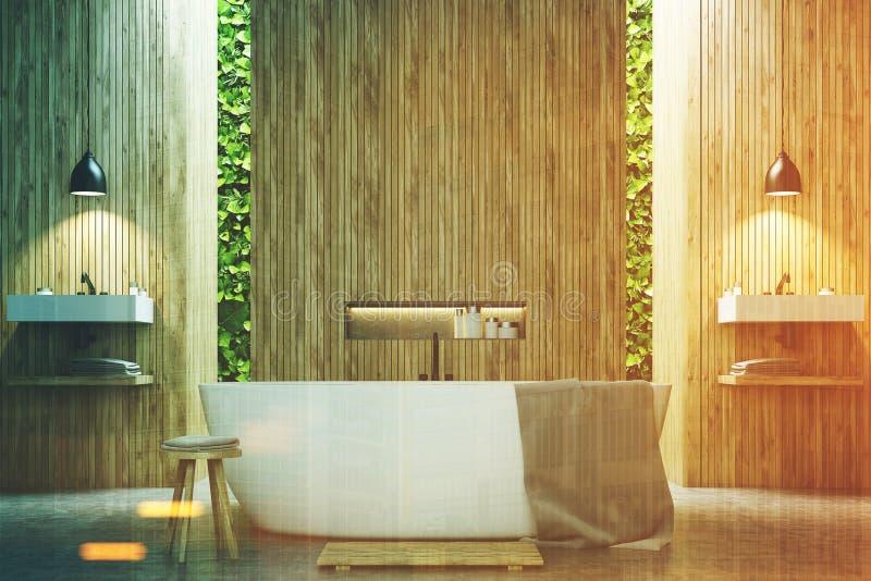 Ecobadkamers twee gootstenen, gestemd hout royalty-vrije illustratie
