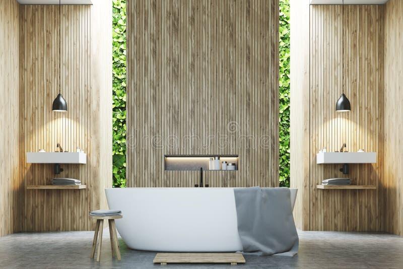 Ecobadkamers twee gootstenen, hout royalty-vrije illustratie