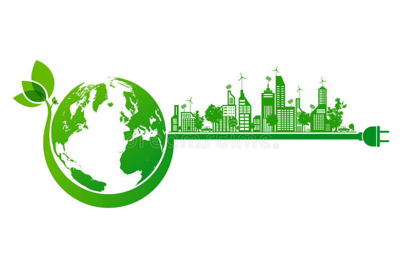 Ecobegrepp för grön jord och stads stock illustrationer